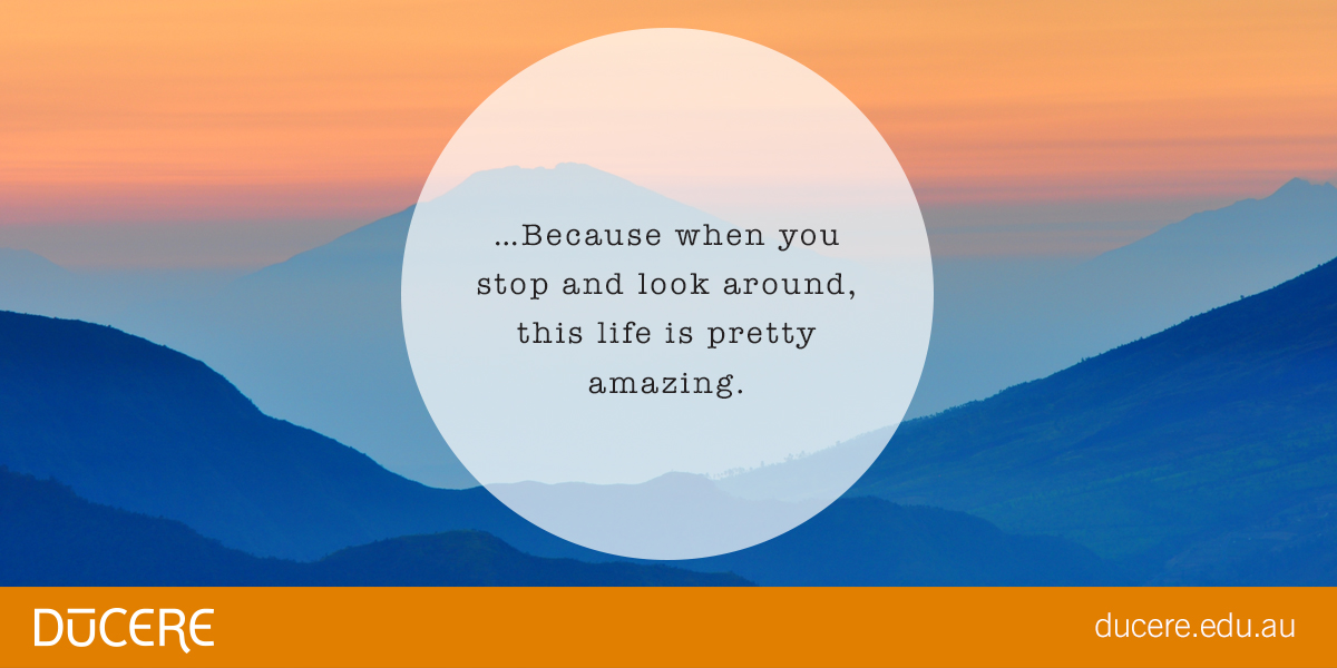 Because when you stop and look around, this life is pretty amazing - Anonymous